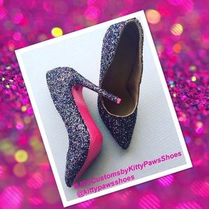 Women's Custom Multi-Color Glitter w/Pink Heels